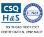BS OHSAS 18001:2007 cert. numero 9192.MACT